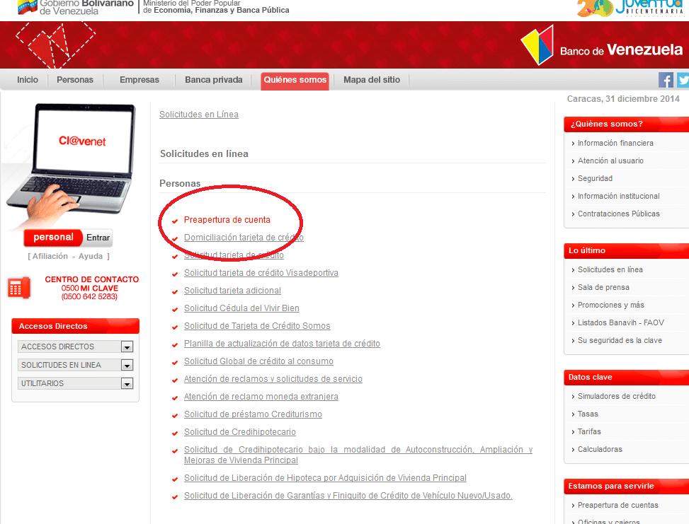 Banco de Venezuela cita 1