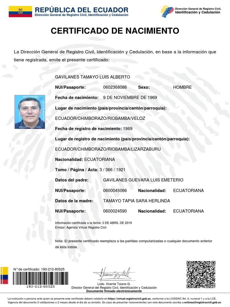 partida de nacimiento Ecuador
