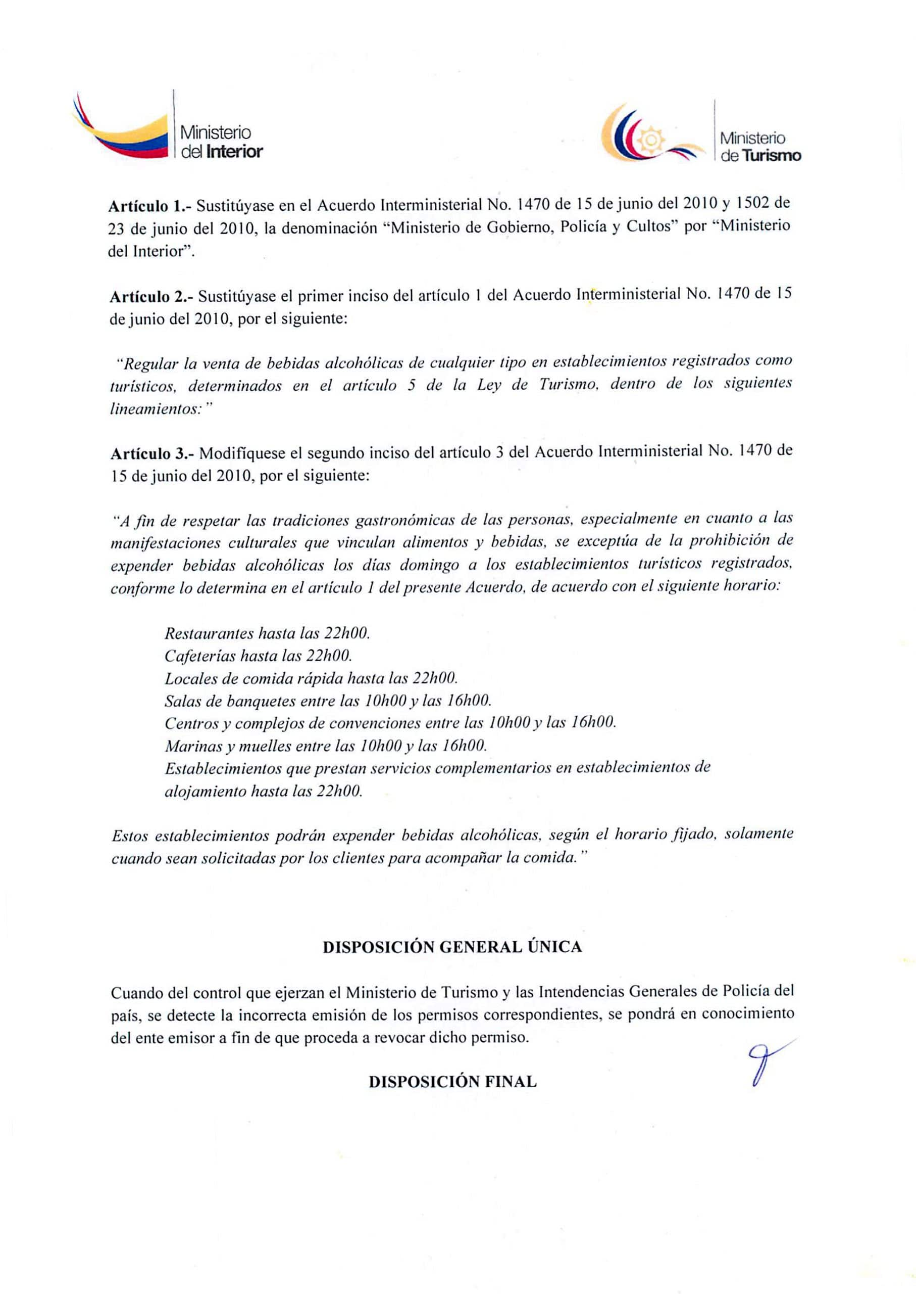 permiso de funcionamiento del ministerio del interior